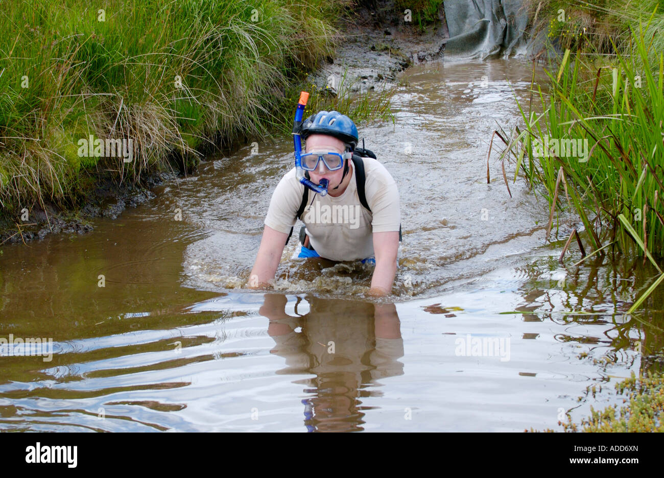 Competitor In The Annual World Mountain Bike Bog Snorkelling Stock