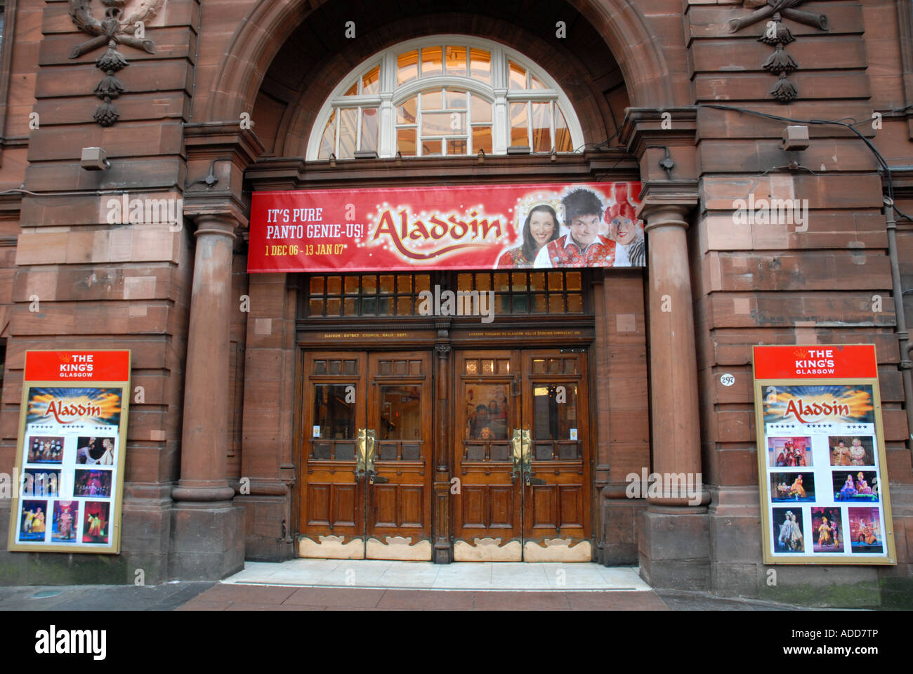 Entrance Doors to the Historic Kings Theatre Showing Pantomime \u0027Aladdin\u0027 Bath Street Glasgow Strathclyde Scotland & Entrance Doors to the Historic Kings Theatre Showing Pantomime ...