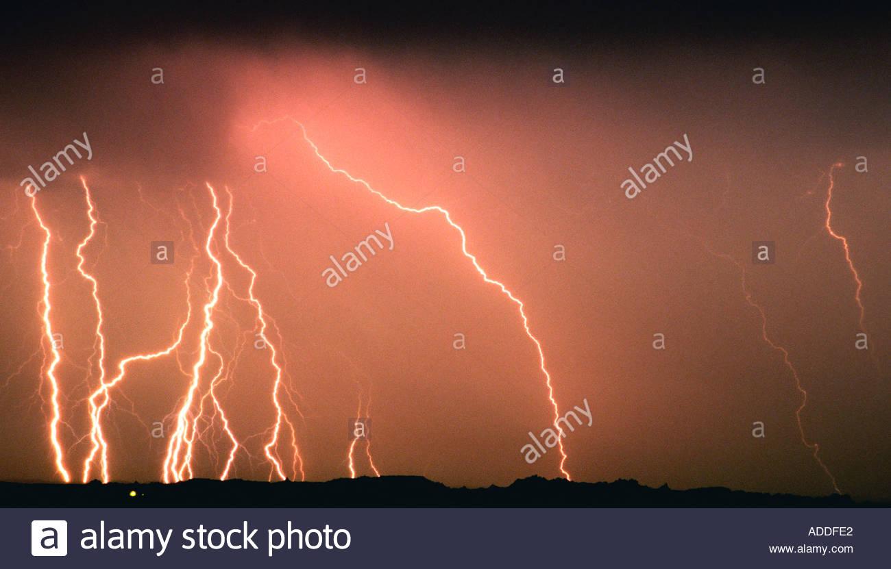 Orange Sky Lightning Storm rainbow lightning orange sky in Texas