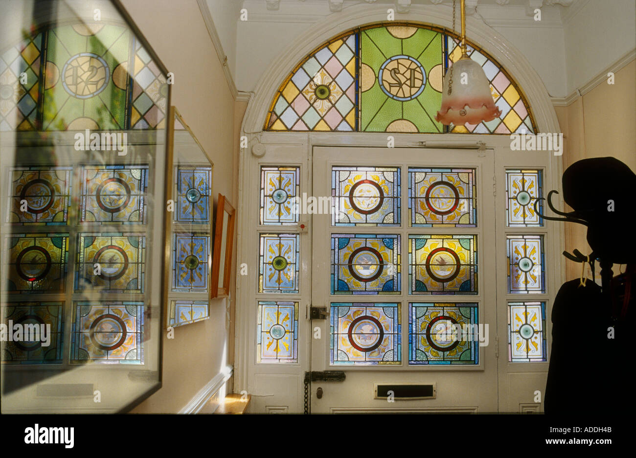 Stained glass interior doors - Decorative Victorian Stained Glass Front Door Taken From Interior Looking Out British Housing London