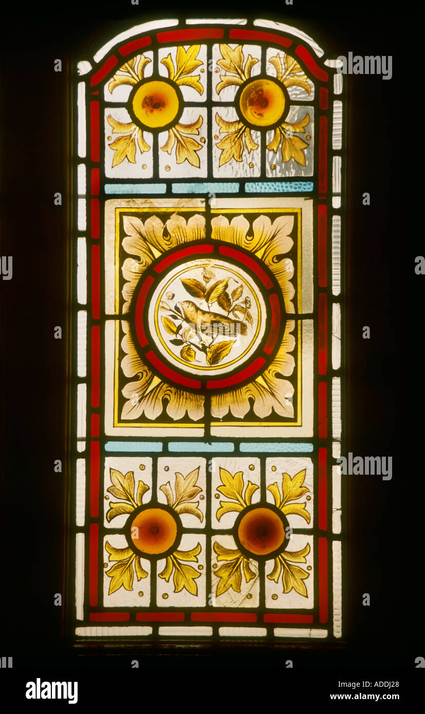 Decorative stained glass panel hand painted bird design on for Decorative window film stained glass victorian