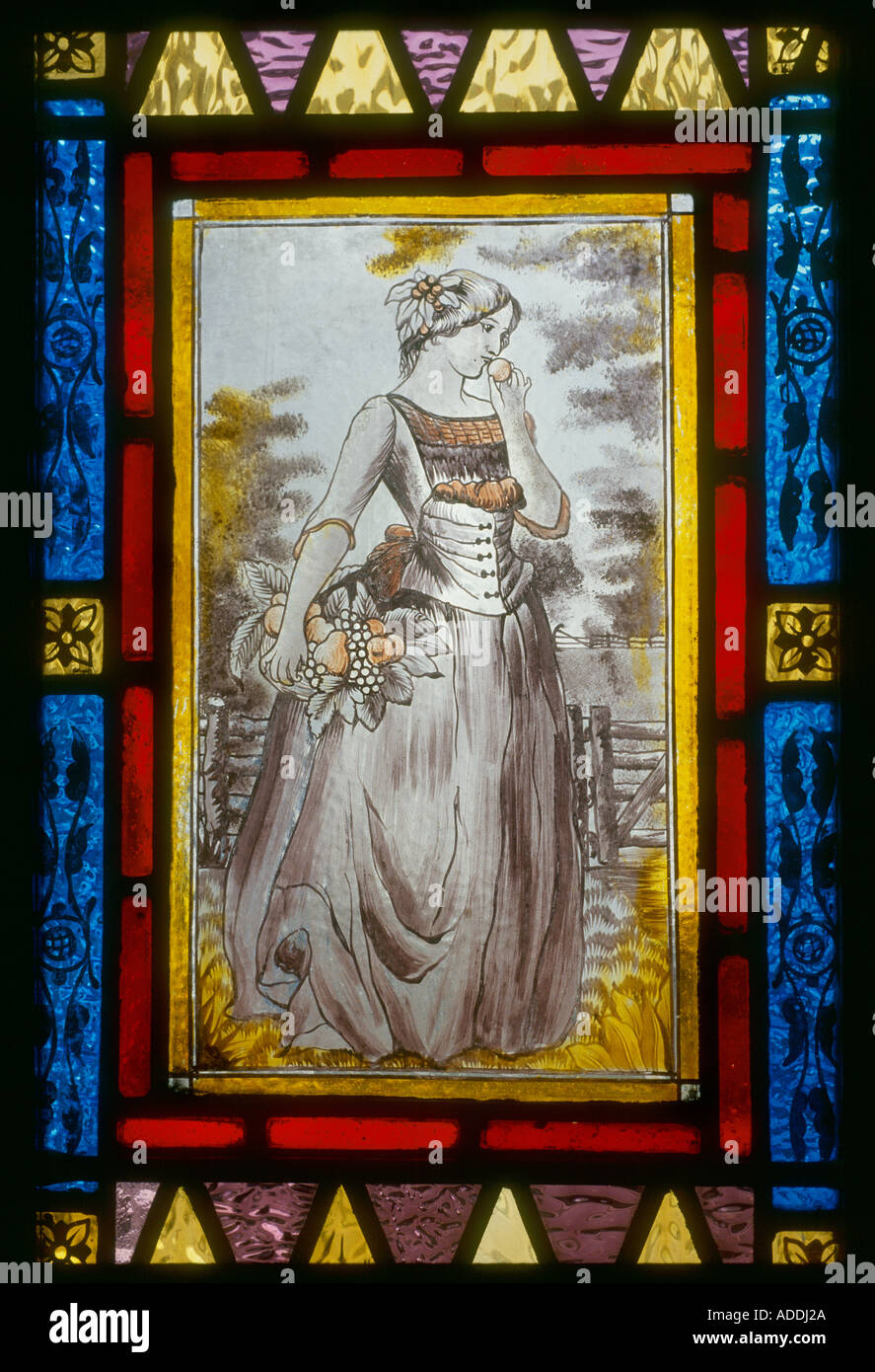 Decorative stained glass hand painted victorian woman on front decorative stained glass hand painted victorian woman on front door panel british housing london stock eventelaan Images