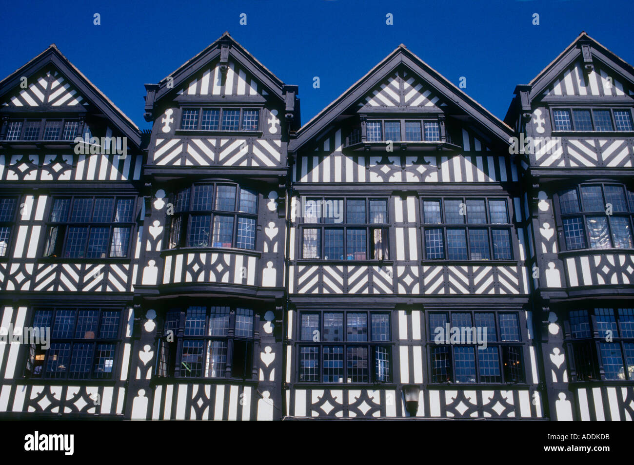 Tudor Architecture half timbered tudor buildings chester england stock photo, royalty