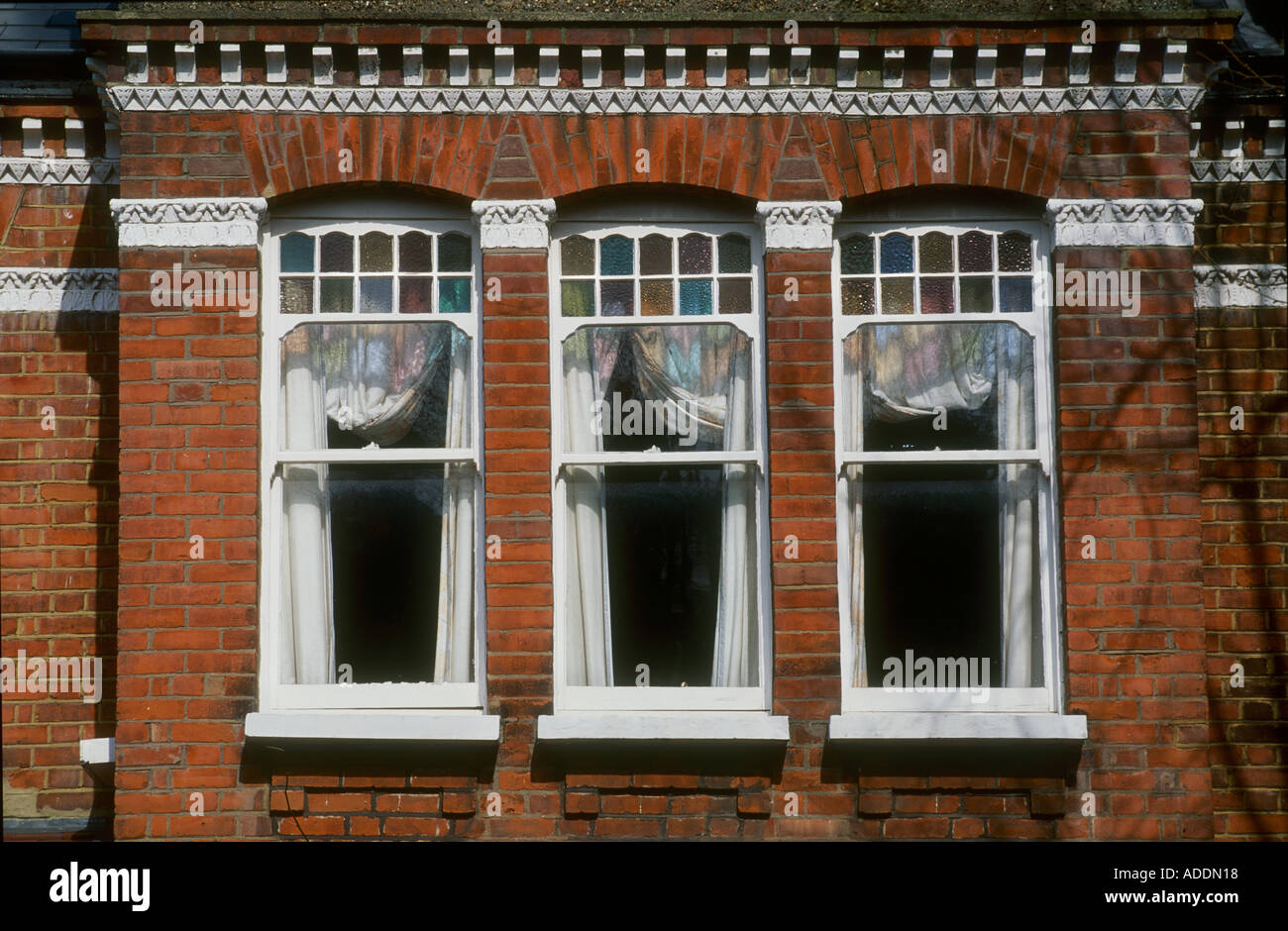 Detail Of Late Victorian Windows South London Stock Photo