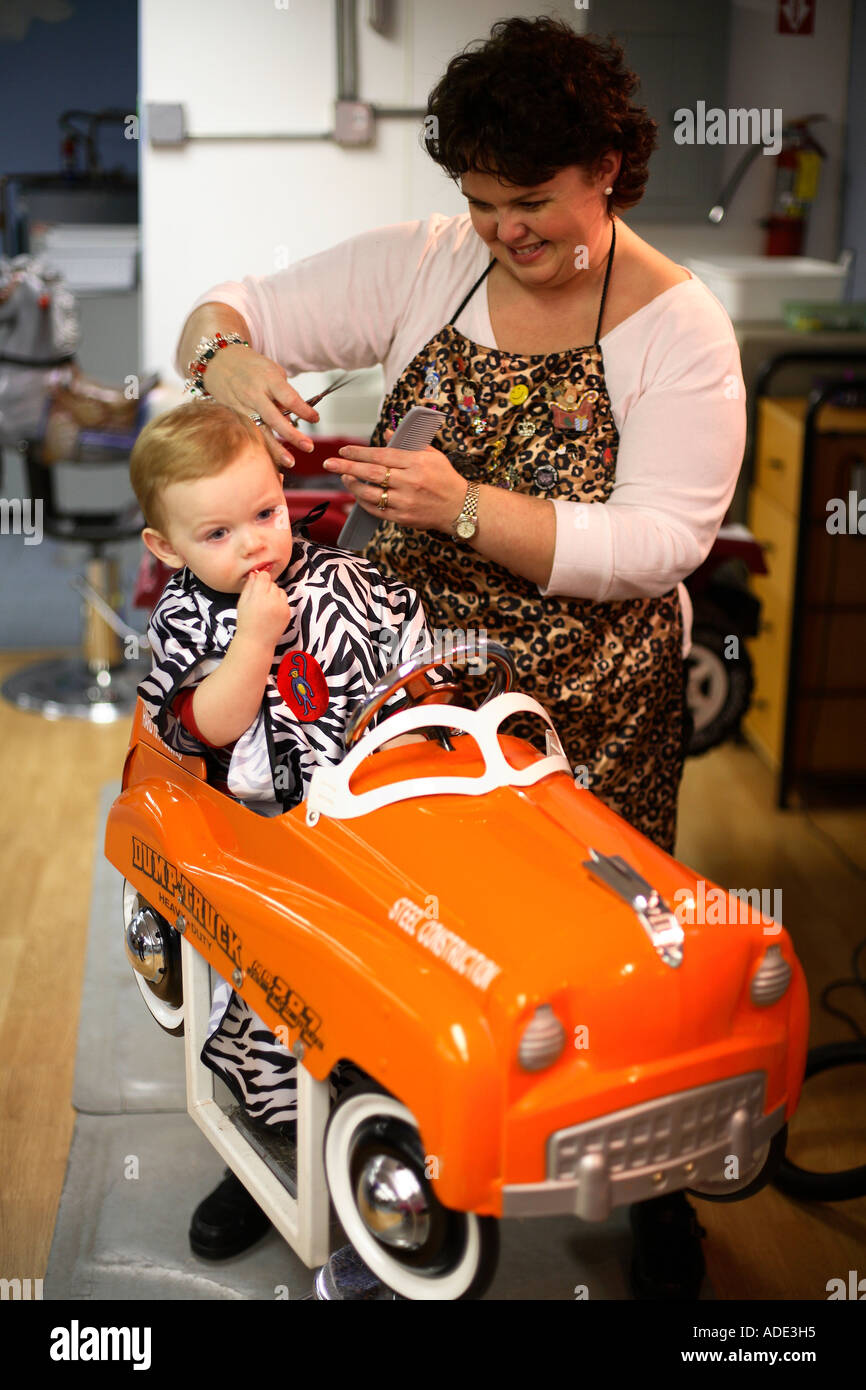 Groovy One Year Old Boy Getting First Haircut Stock Photo Royalty Free Short Hairstyles Gunalazisus