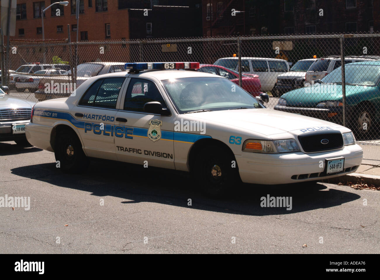 American police car in hartford connecticut car chase siren flashing blue light law order enforcement ford