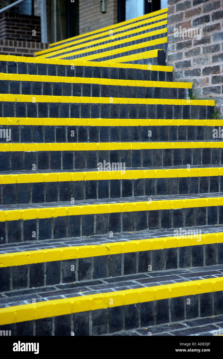 Outdoor Steps Outdoor Steps With Yellow Visibility Strips Stock Photo Royalty