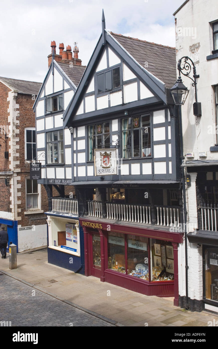Tudor Facade half timbered tudor style facade and rows in the historic city  of