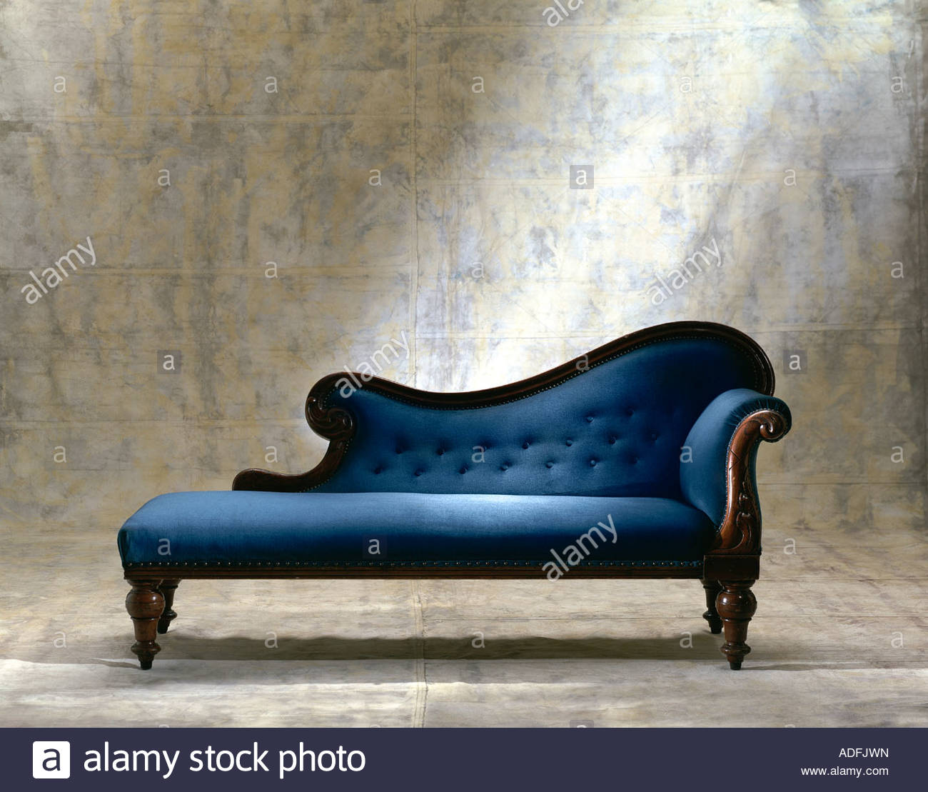 Blue chaise longue sofa on canvas background stock photo for Blue chaise sofa
