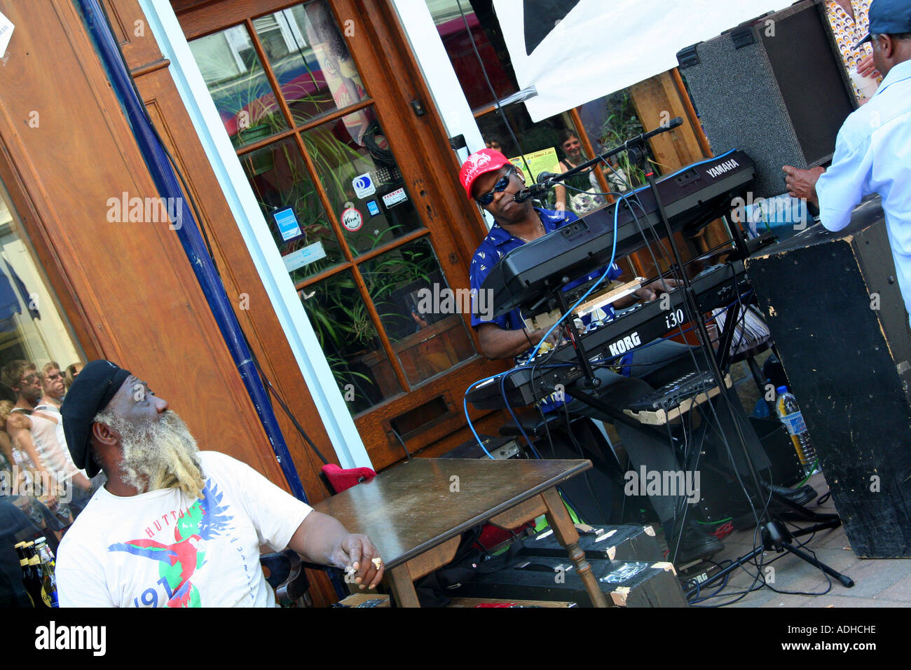 Man playing keyboard outside Hi Lo Jamaican restaurant at the ...