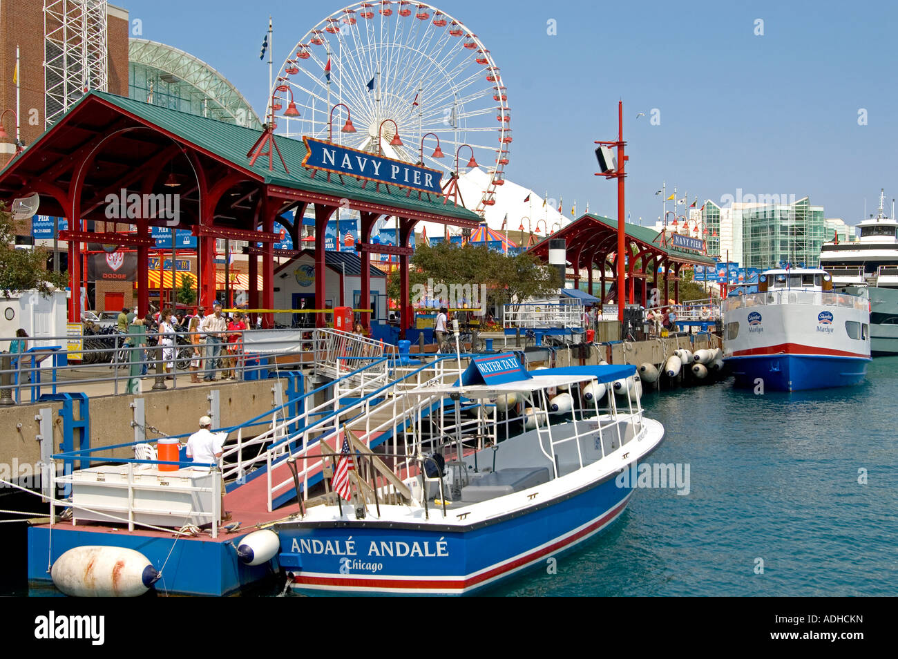 Water Taxi  Tour Boats  Chicagos Navy Pier   Tourist Stock - Chicago map navy pier
