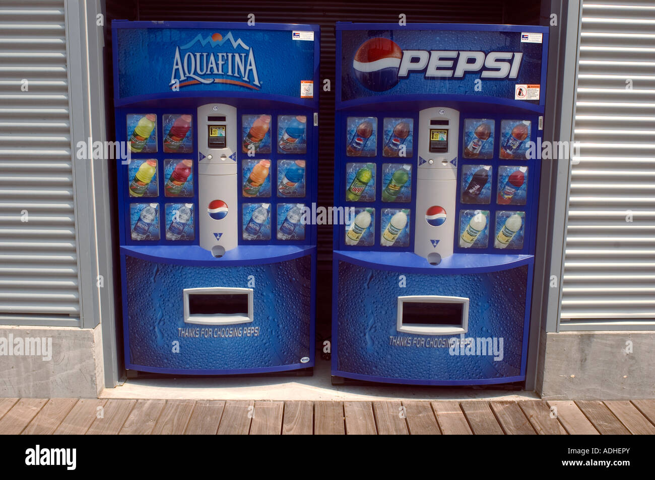 Drink vending machines dispense Pepsi Cola products in the NYC ...