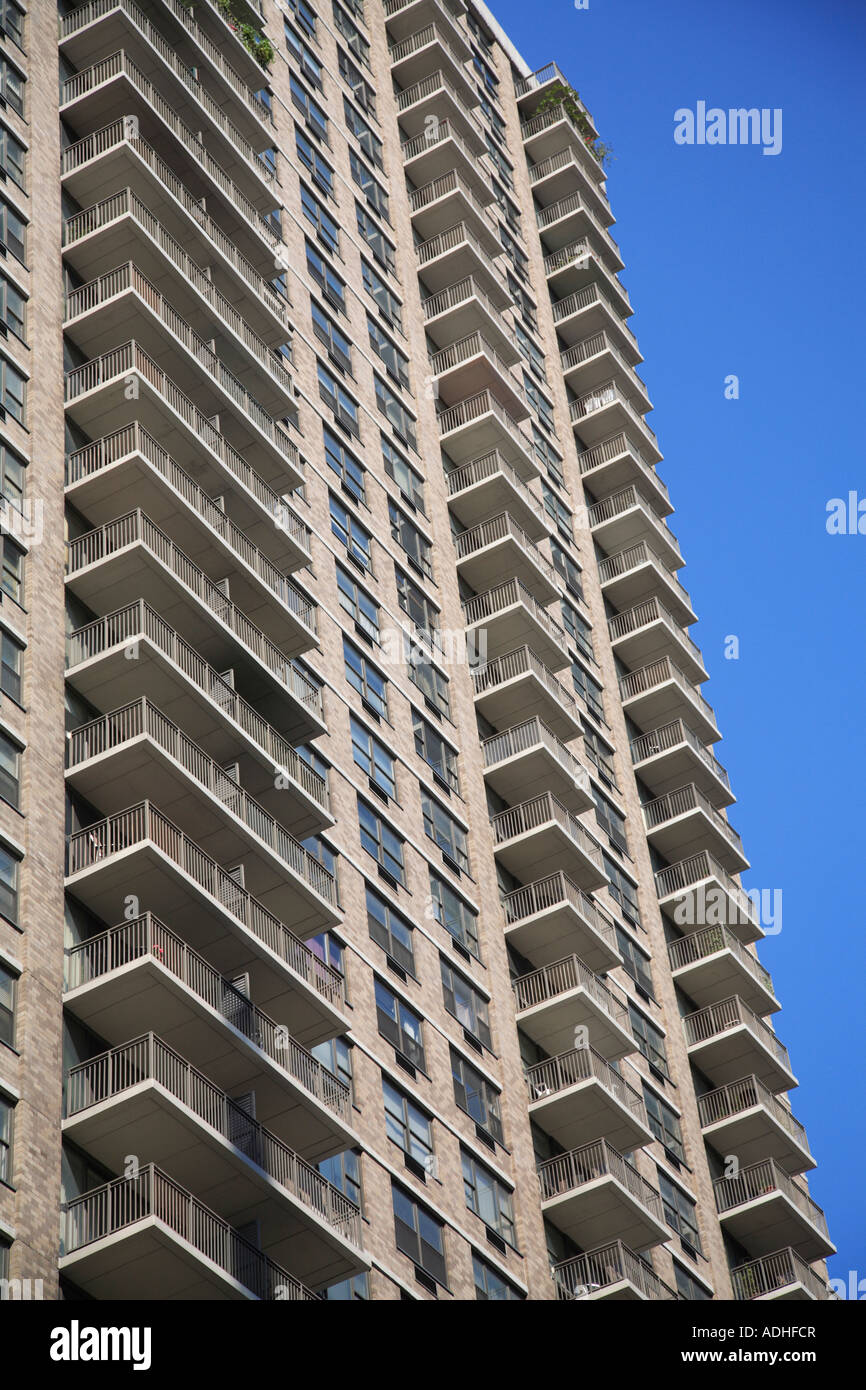 Balconies Modern Highrise Apartment Building Upper East Side Stock