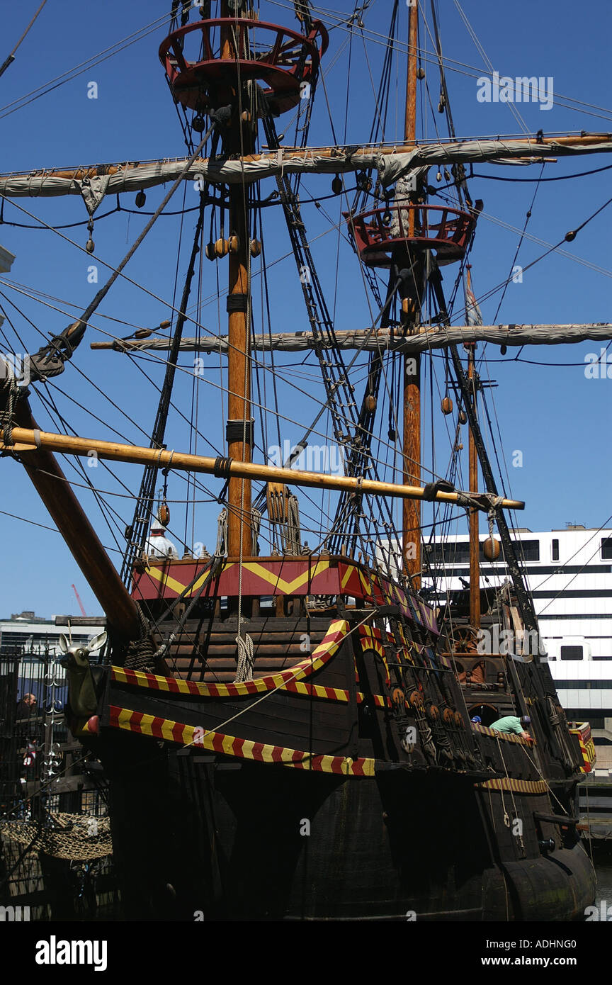 golden hind replica south bank the thames london england stock photo royalty free image. Black Bedroom Furniture Sets. Home Design Ideas