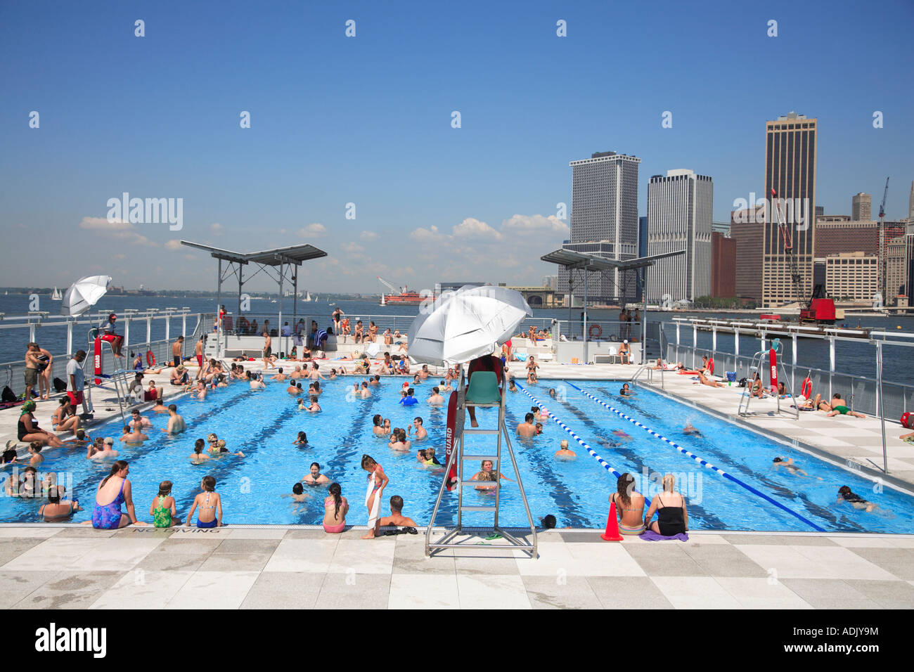floating pool lady barge brooklyn bridge park beach with view of stock photo royalty free image