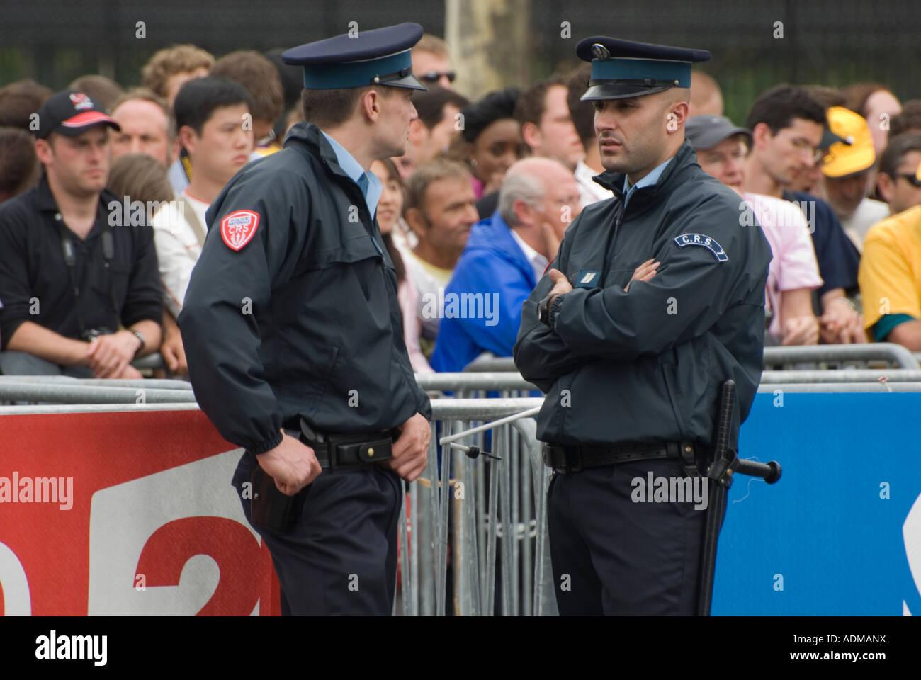 Crs police in paris at the tour de france 2007 stock photo for Police tours