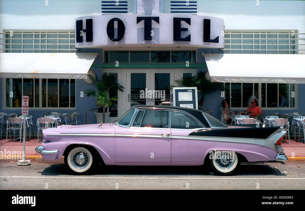 Pink Cadillac Outside Colony Hotel Ocean Drive South Beach - Cadillac dealer miami