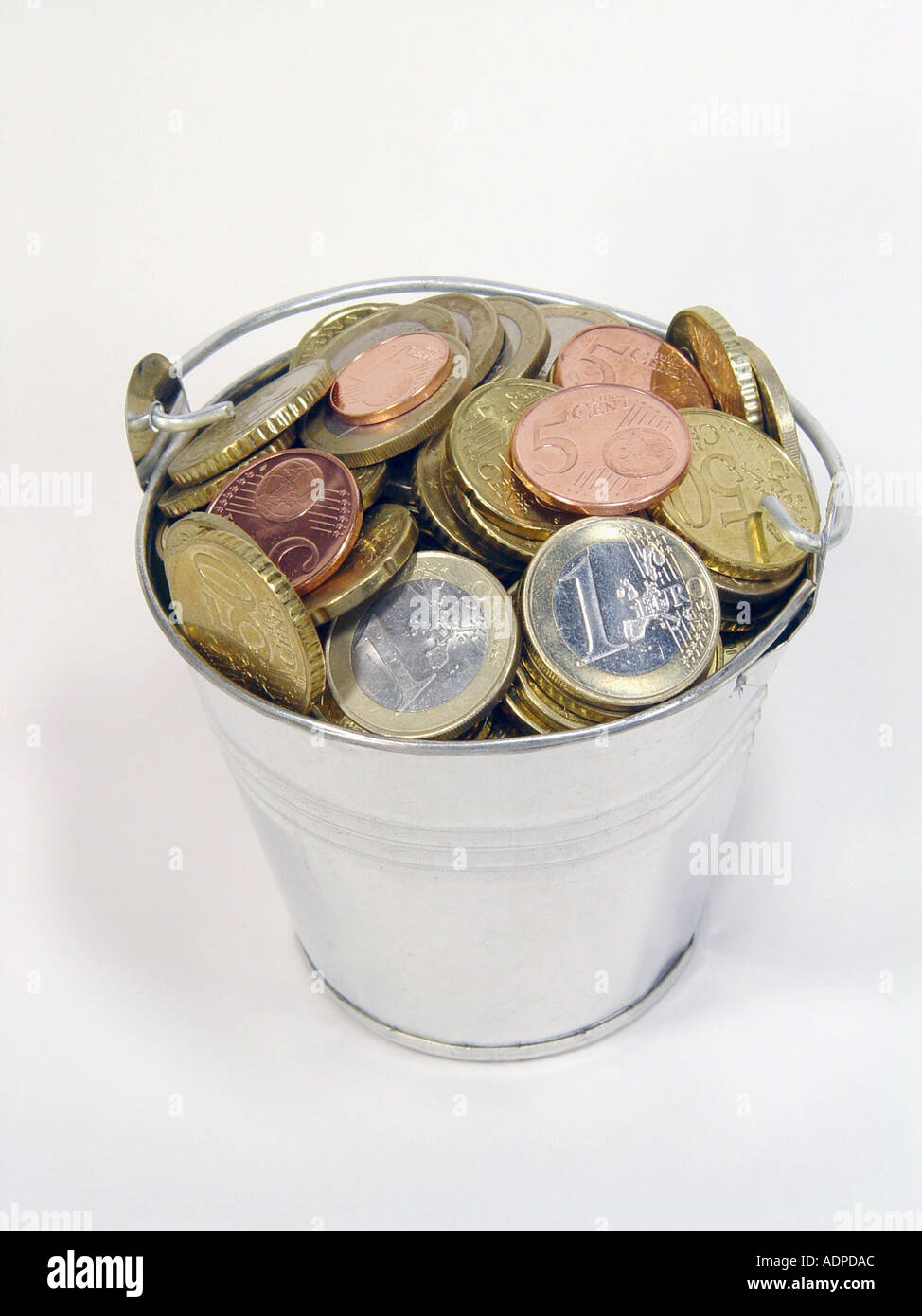Bucket With Euro Coins As Symbol For Wealth Money In Large