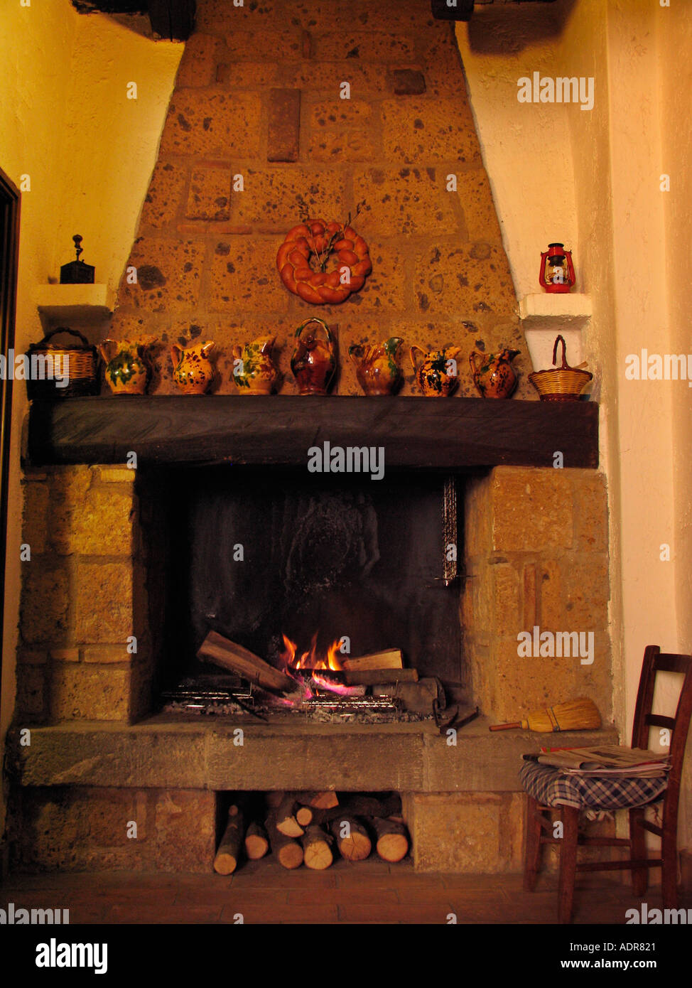 open hearth cooking fire in restaurant in the etruscan hilltown of
