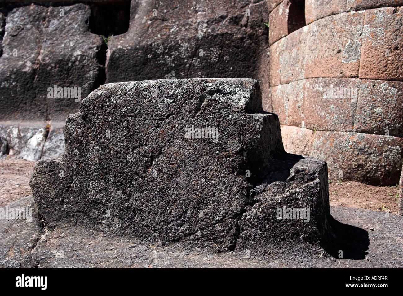 Pisac ruins chakana or inca cross carved stone symbol