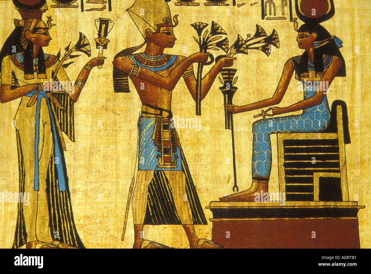 Egypt ramses ii offers lotus flowers to queen nefertiti for Mural egipcio