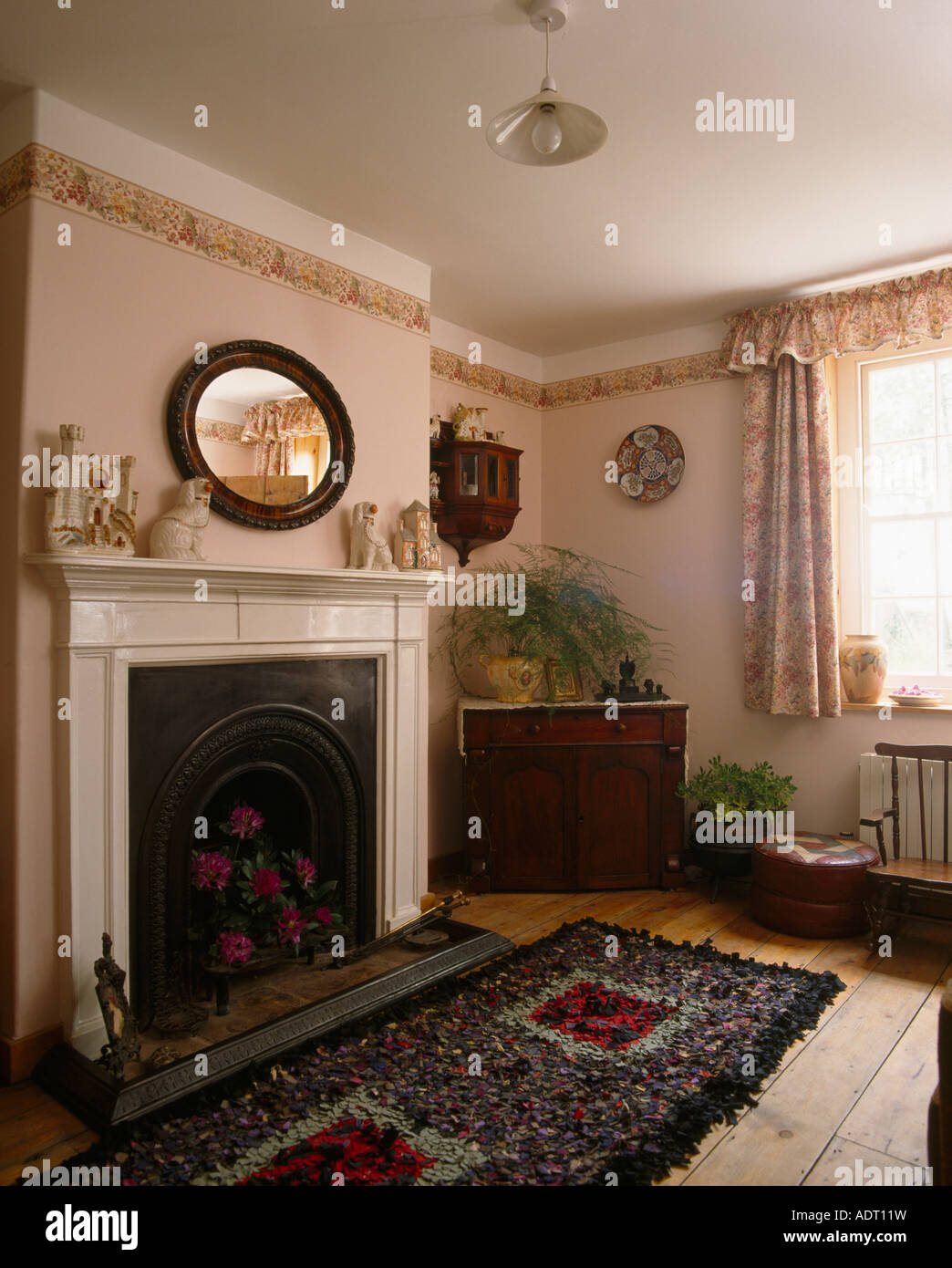 Rag Rug In Front Of Fireplace Small Livingroom With Wallpaper Border