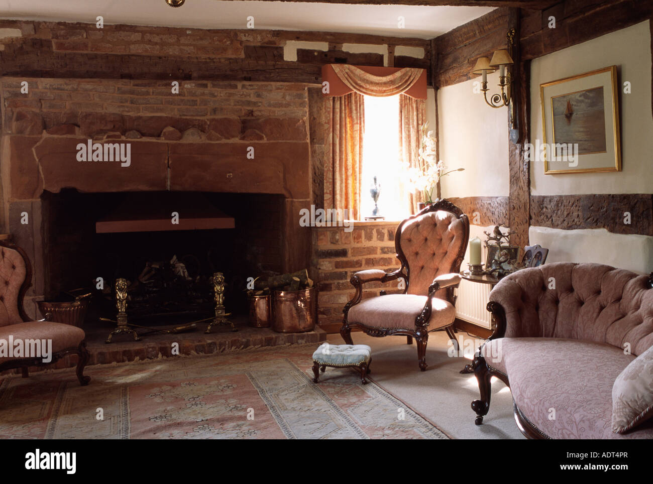 ... Cottage Living Room With Fireplace