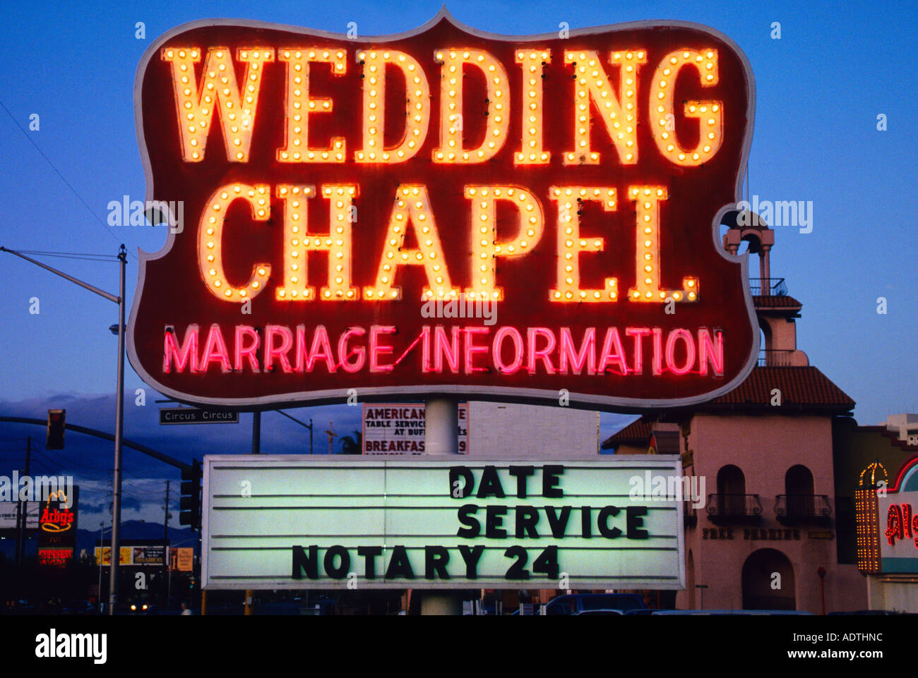 USA Las Vegas Nevada NV Wedding Chapel On The Strip At Night