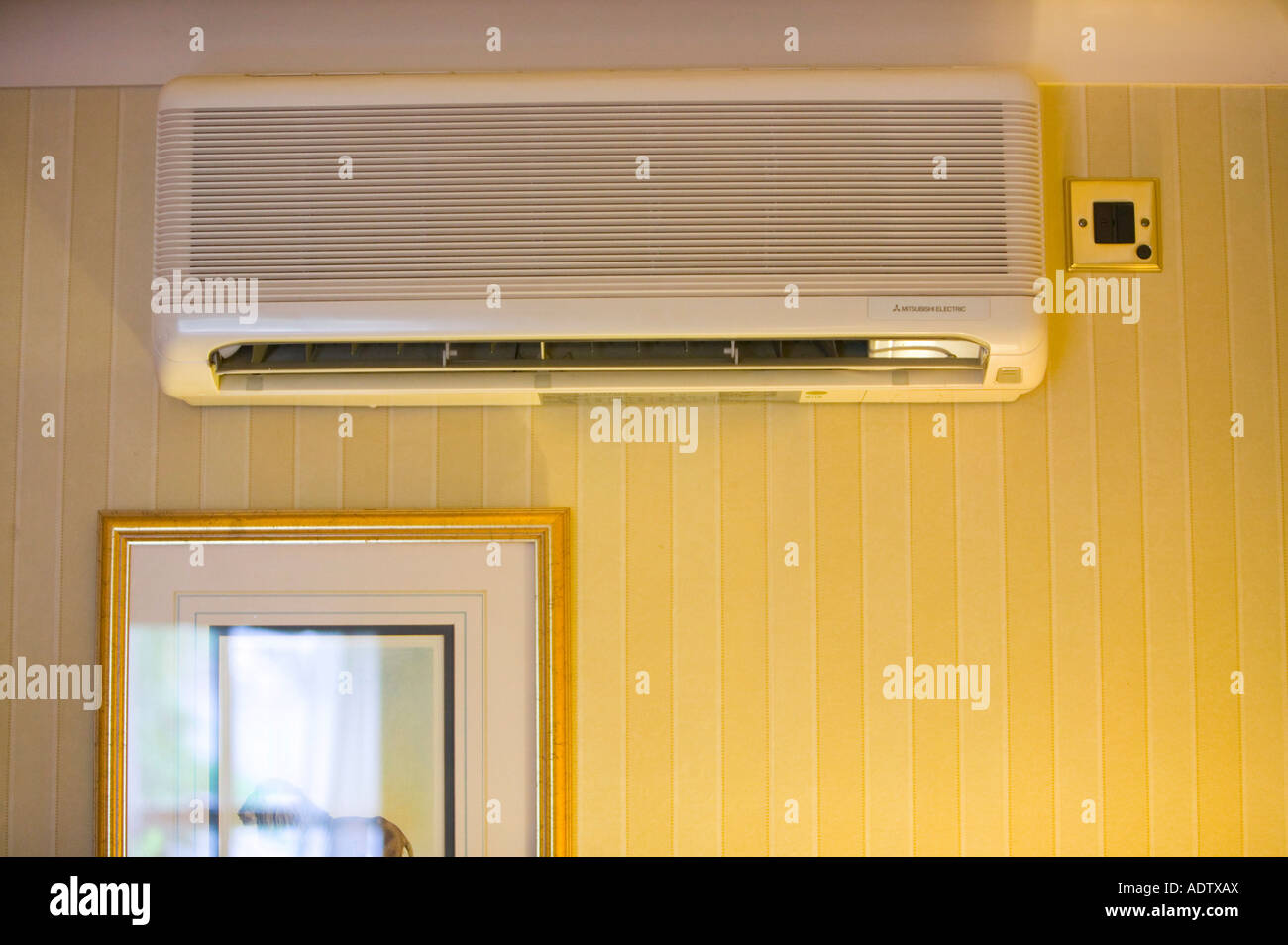 air conditioning in a hotel bedroom london uk stock photo, royalty