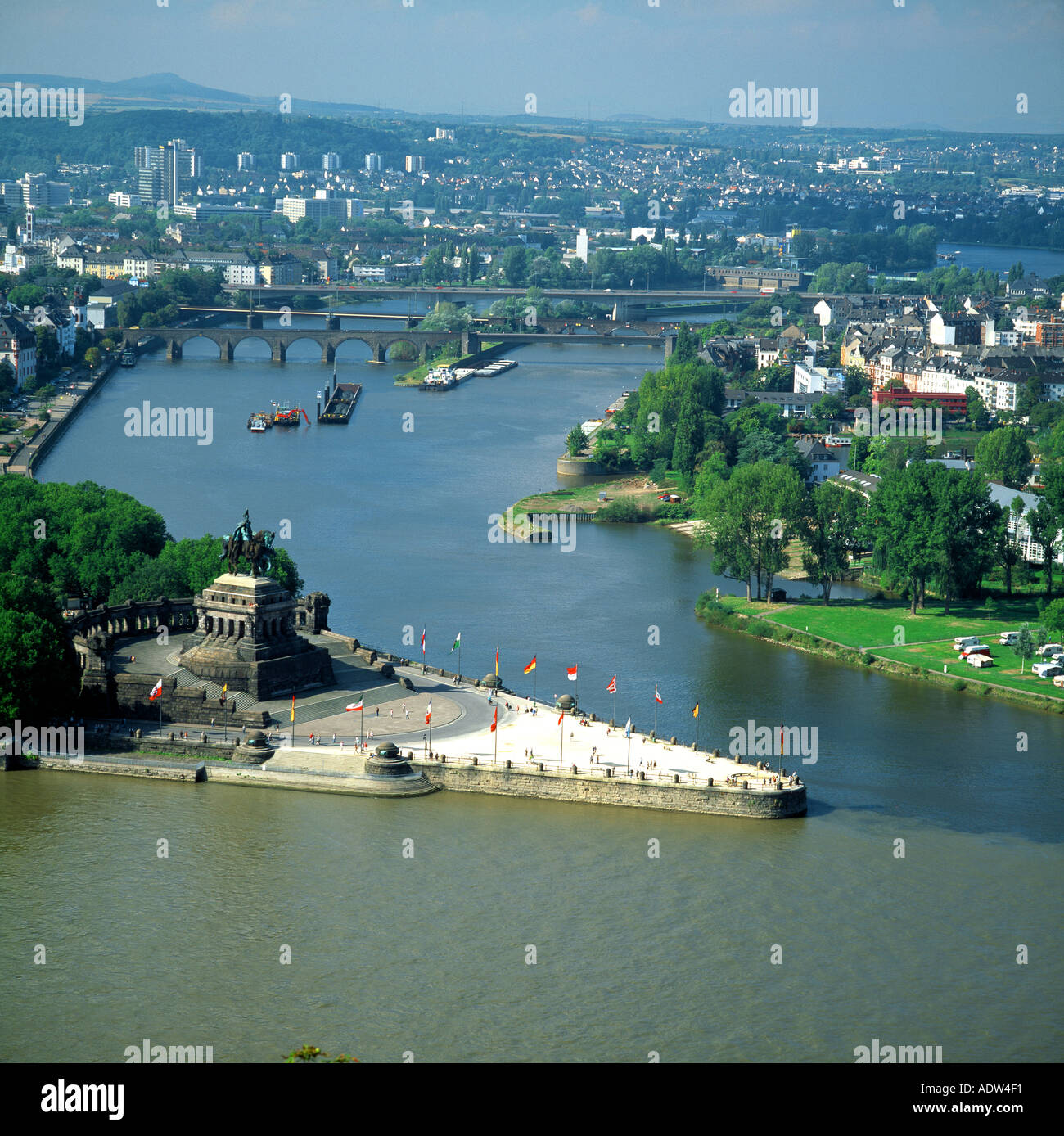deutsches eck confluence of the rhine and mosel rivers koblenz stock photo royalty free image. Black Bedroom Furniture Sets. Home Design Ideas