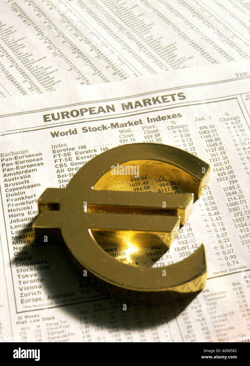 Golden euro currency logo on financial paper with world stock photo golden euro currency logo on financial paper with world stock markets indexes buycottarizona Gallery