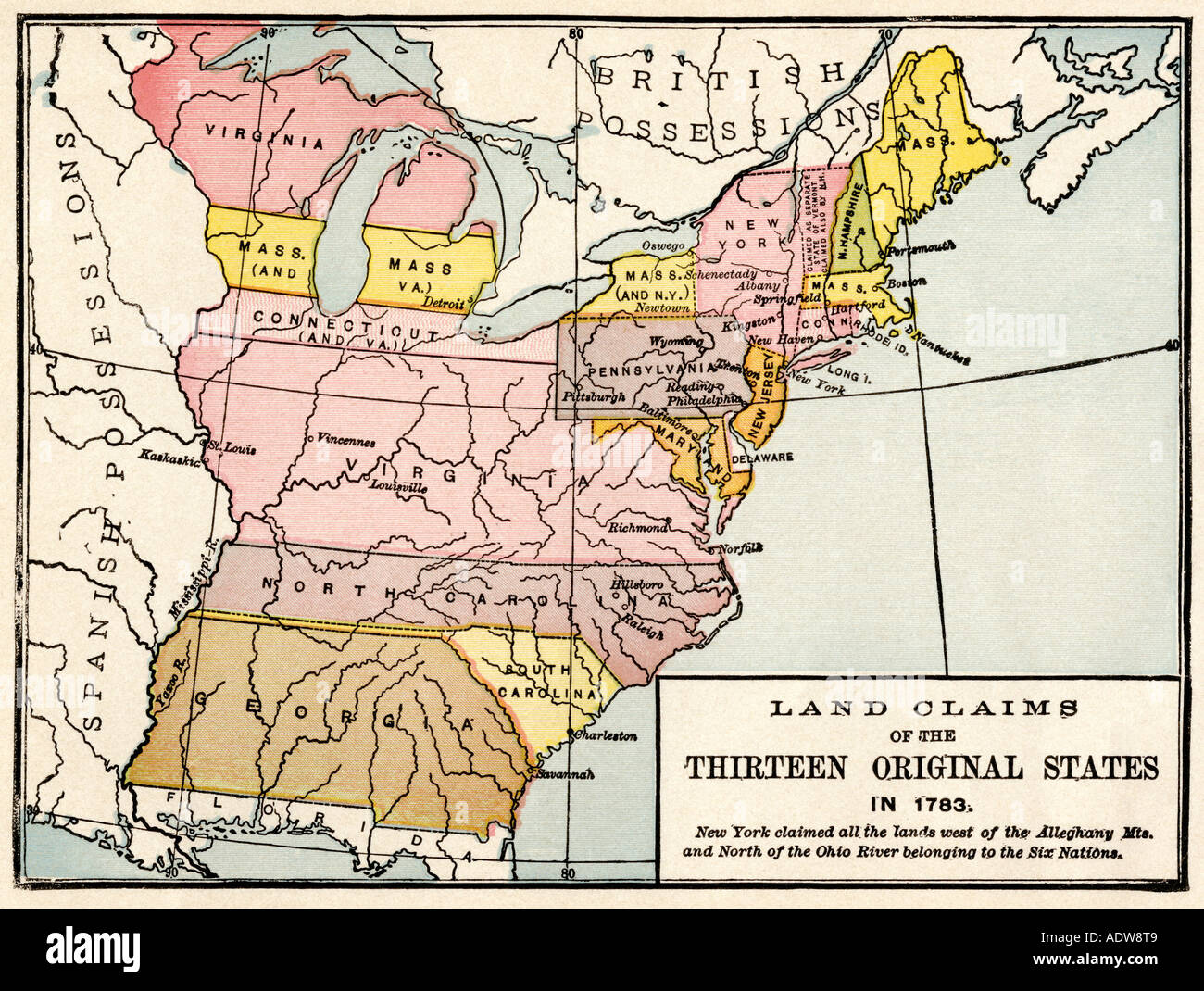 Map showing land claims of the thirteen original states for States with free land