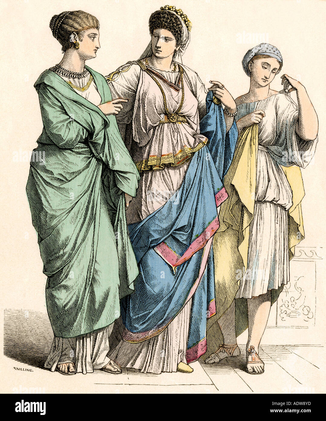 Ladies And Their Slave Girl In Ancient Rome Stock Photo