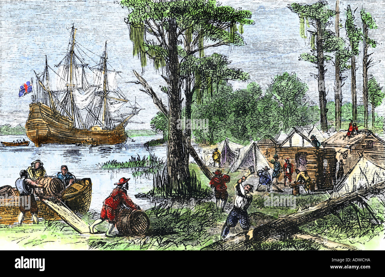 Arrival of colonists at Jamestown in Virginia Colony 1607 Stock ...
