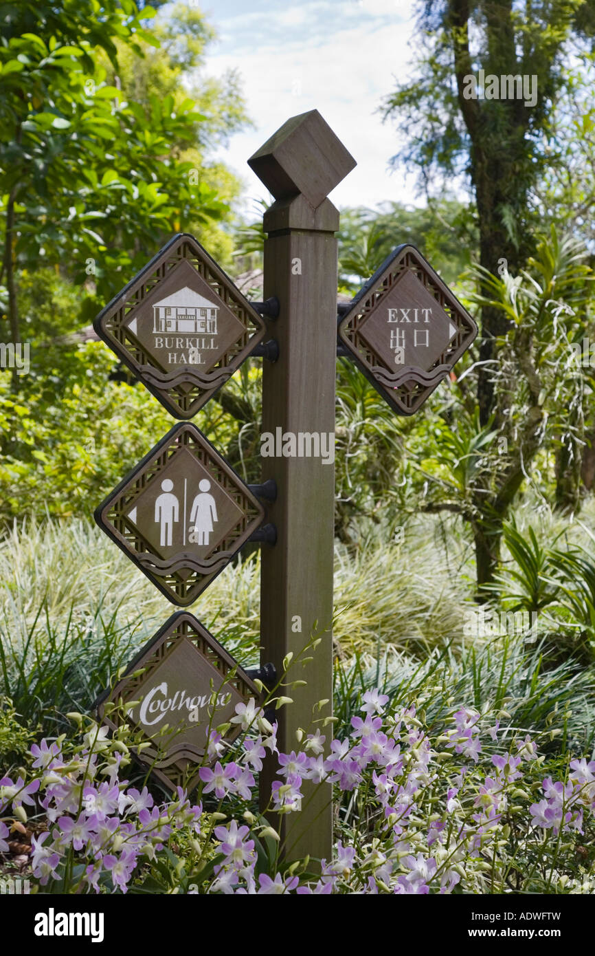 Singapore May Wooden Direction Sign Post In National Orchid Garden In  Botanic Gardens