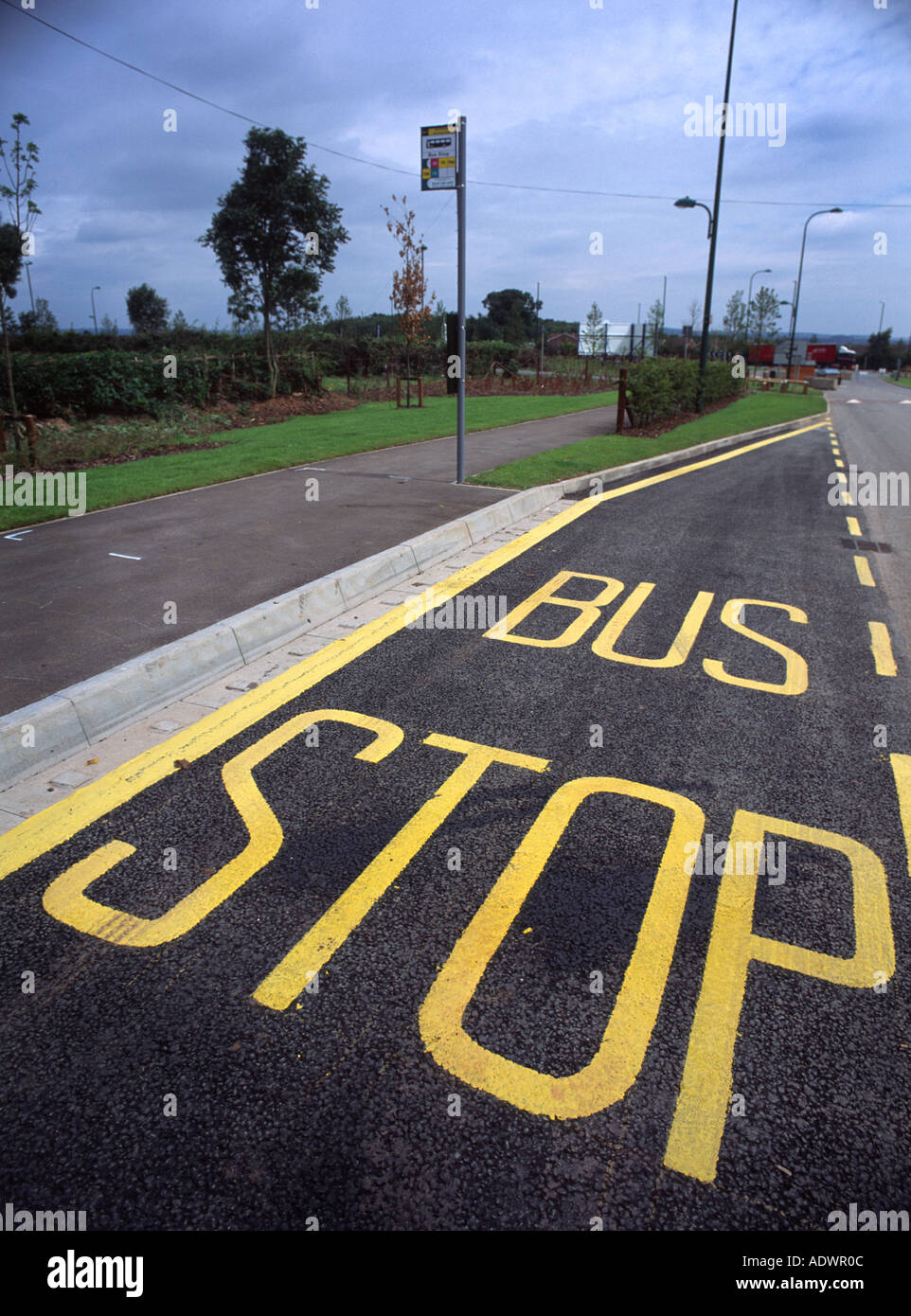 Road Markings Of A Bus Stop Taken From A Higher Elevation Stock - Higher elevation