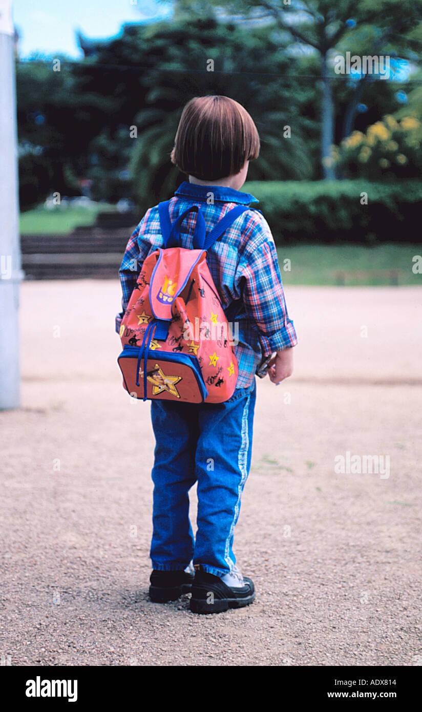Children little white boy backpack back student waiting ...