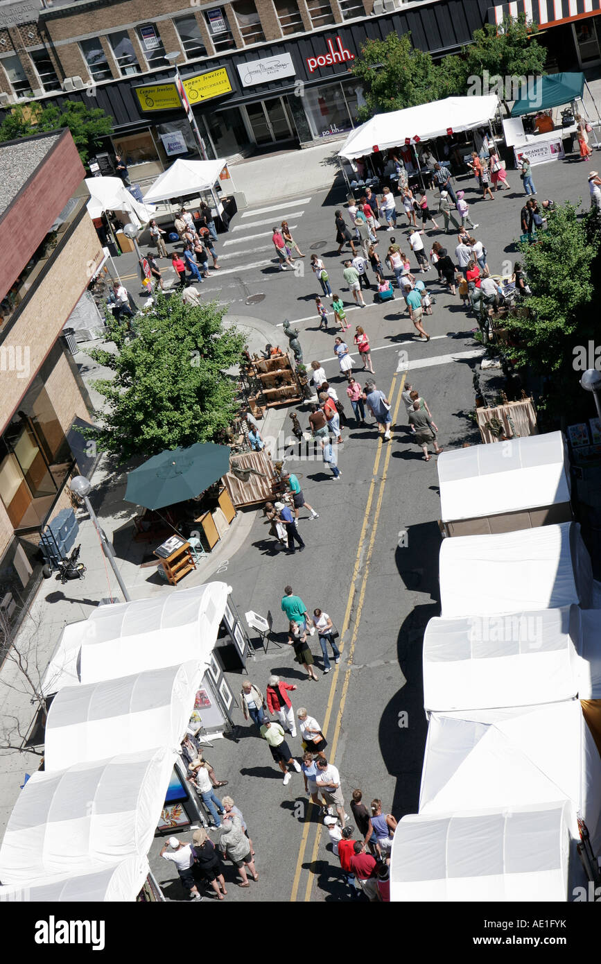 Michigan Ann Arbor Maynard Street Art Fairs aerial tents shoppers & Michigan Ann Arbor Maynard Street Art Fairs aerial tents shoppers ...