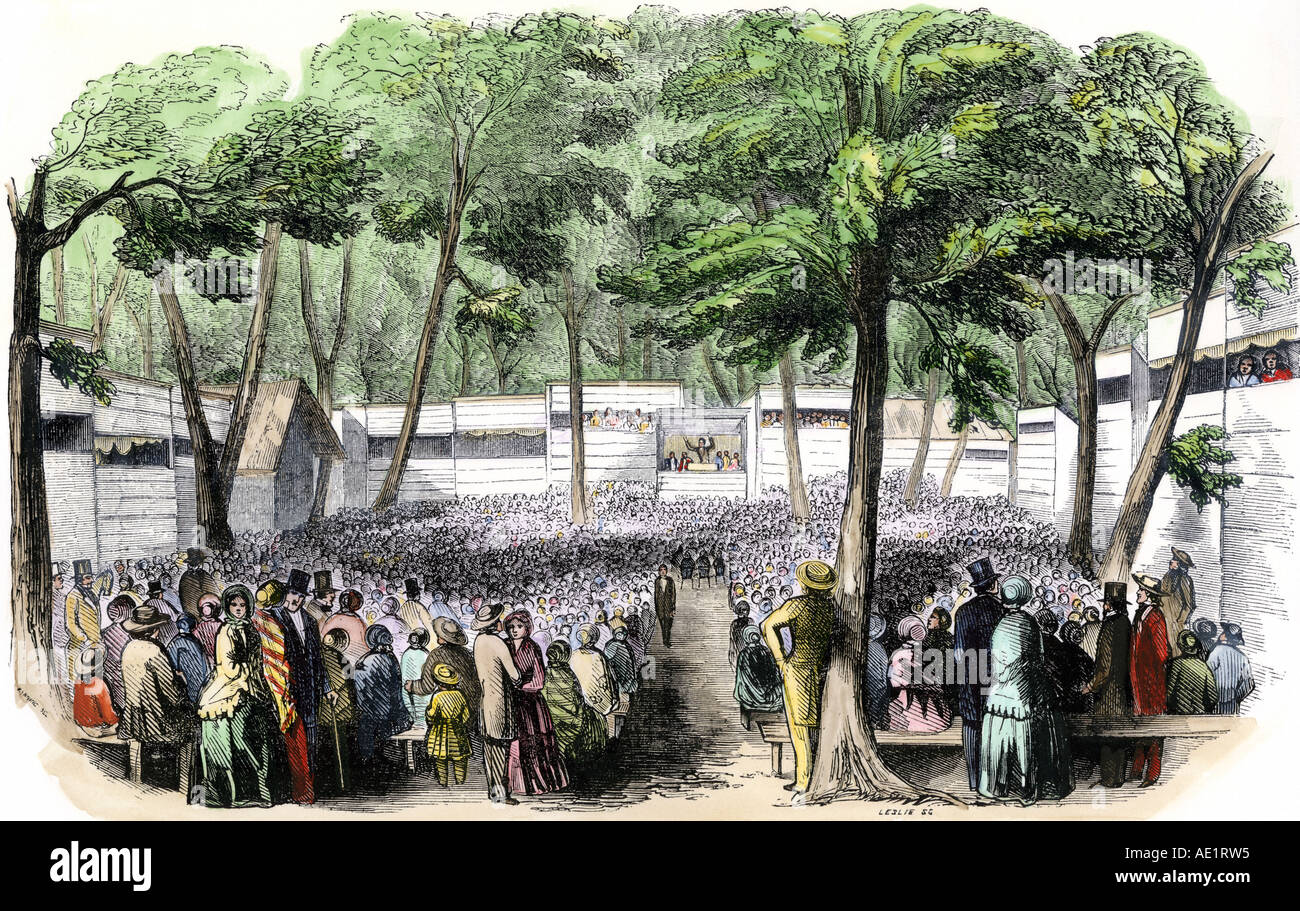 methodist camp meetings In the trans-appalachian west, evangelical denominations, methodists in  particular, used camp meetings as way stations for roving circuit preachers and to .
