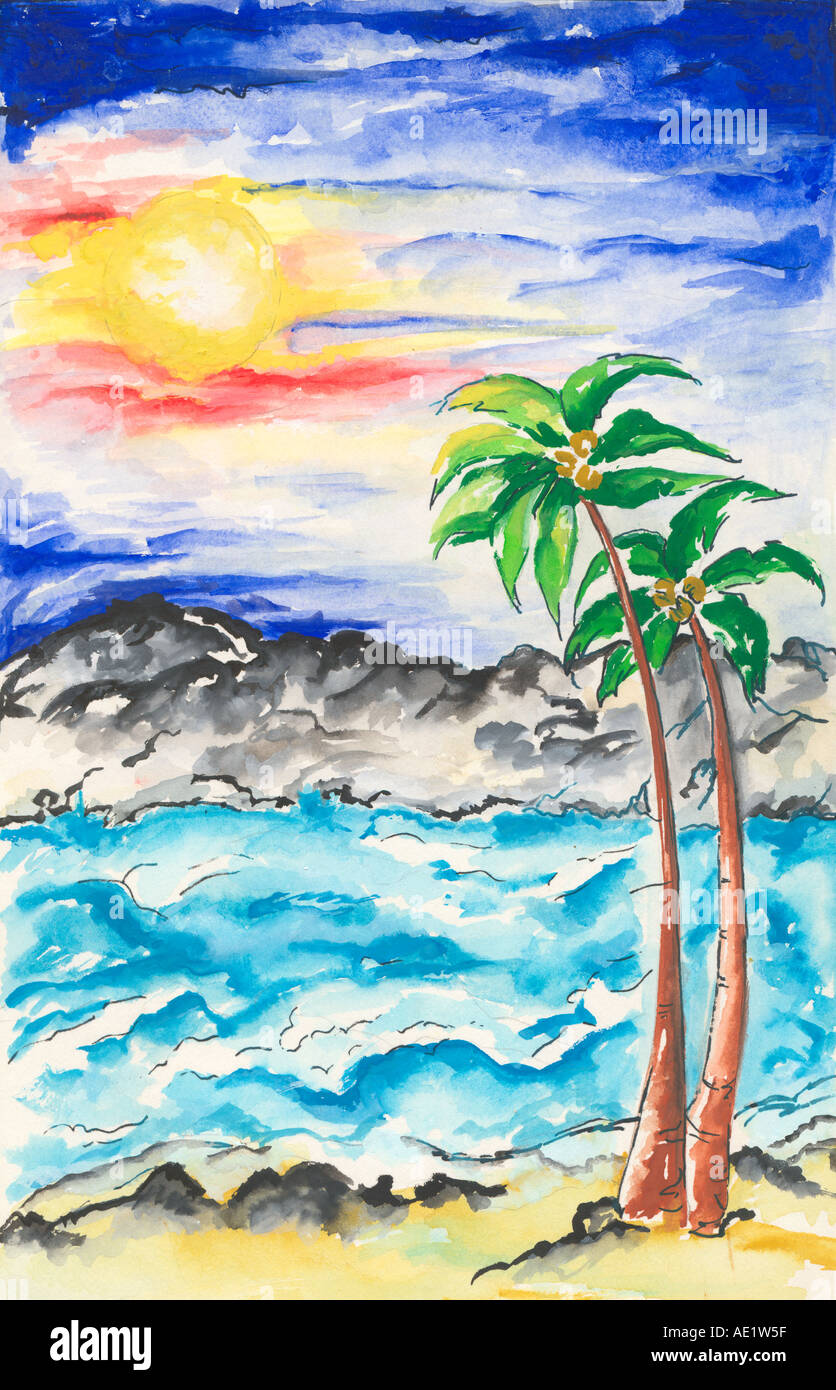 ARS71020 Painting Illustration Drawing Color Of Beach Sea Sun With Sunset And Palm Trees India