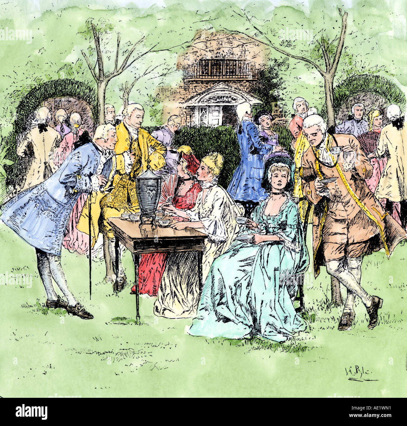 Outdoor Tea Party In Colonial New England 1700s Stock