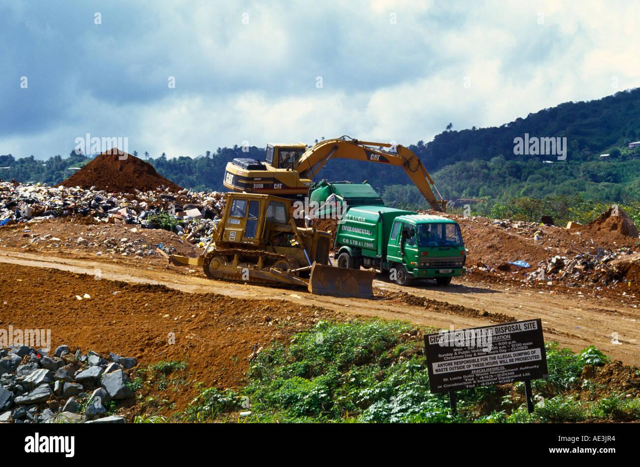 ciceron st lucia closure of rubbish tip site digger u0026 bulldozer