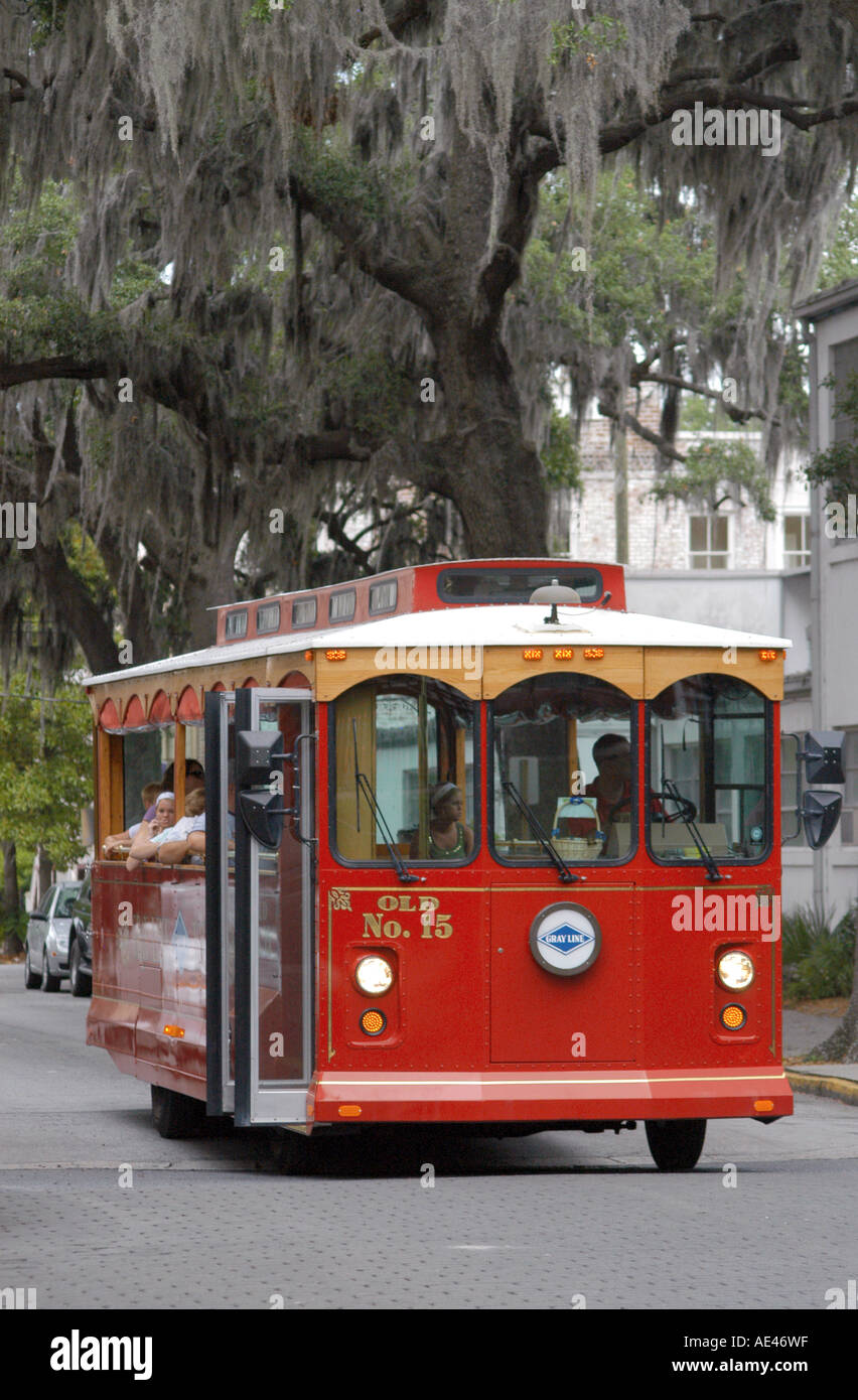 Trolley Bus Tours Savannah Georgia USA Stock Photo Royalty Free - Bus tours usa