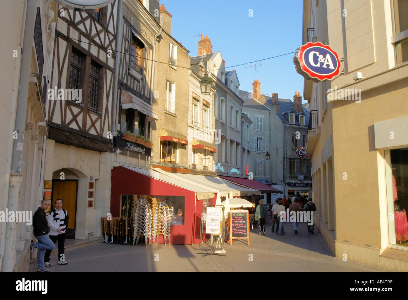 street scene with cafes in city centre of orleans france stock photo 7753342 alamy. Black Bedroom Furniture Sets. Home Design Ideas