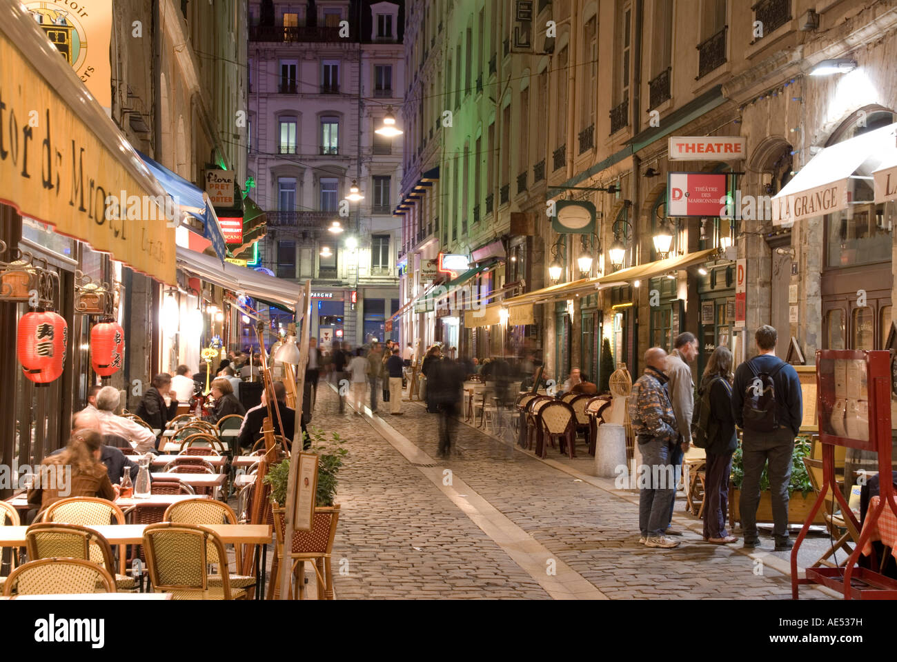 restaurants on rue des marronniers lyon rhone france europe stock photo royalty free image. Black Bedroom Furniture Sets. Home Design Ideas