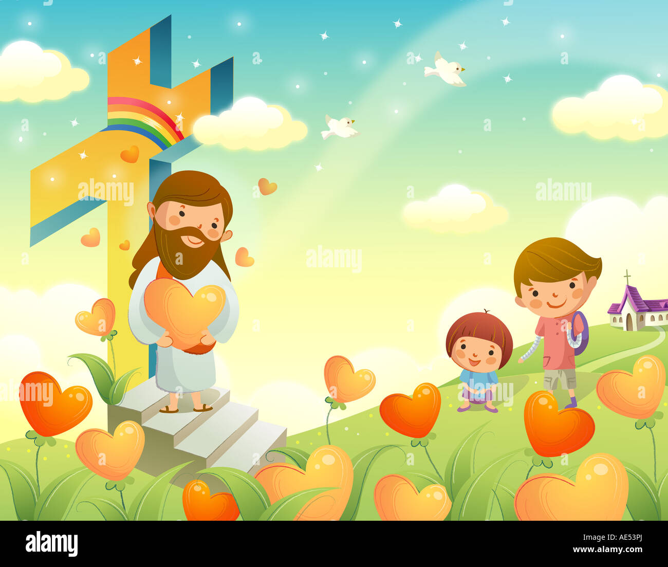 jesus christ holding a heart shape flower and standing with two