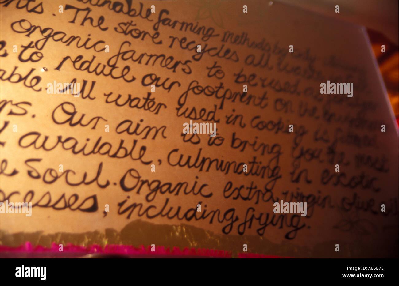 text menu manifesto mission statment wall poster the organic