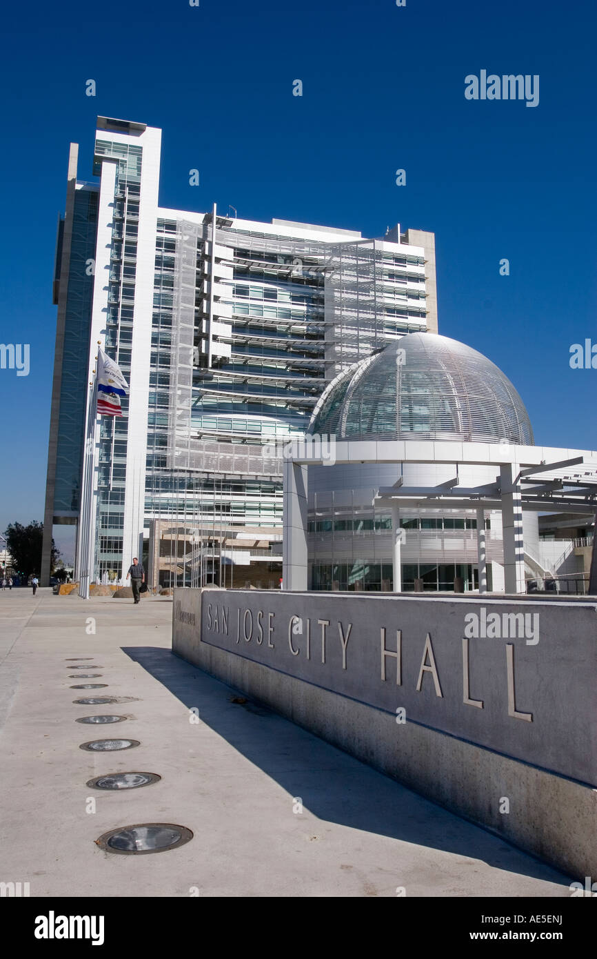 Superb Modern Architecture Of San Jose City Hall Sign With Rotunda And Tower In  Silicon Valley California