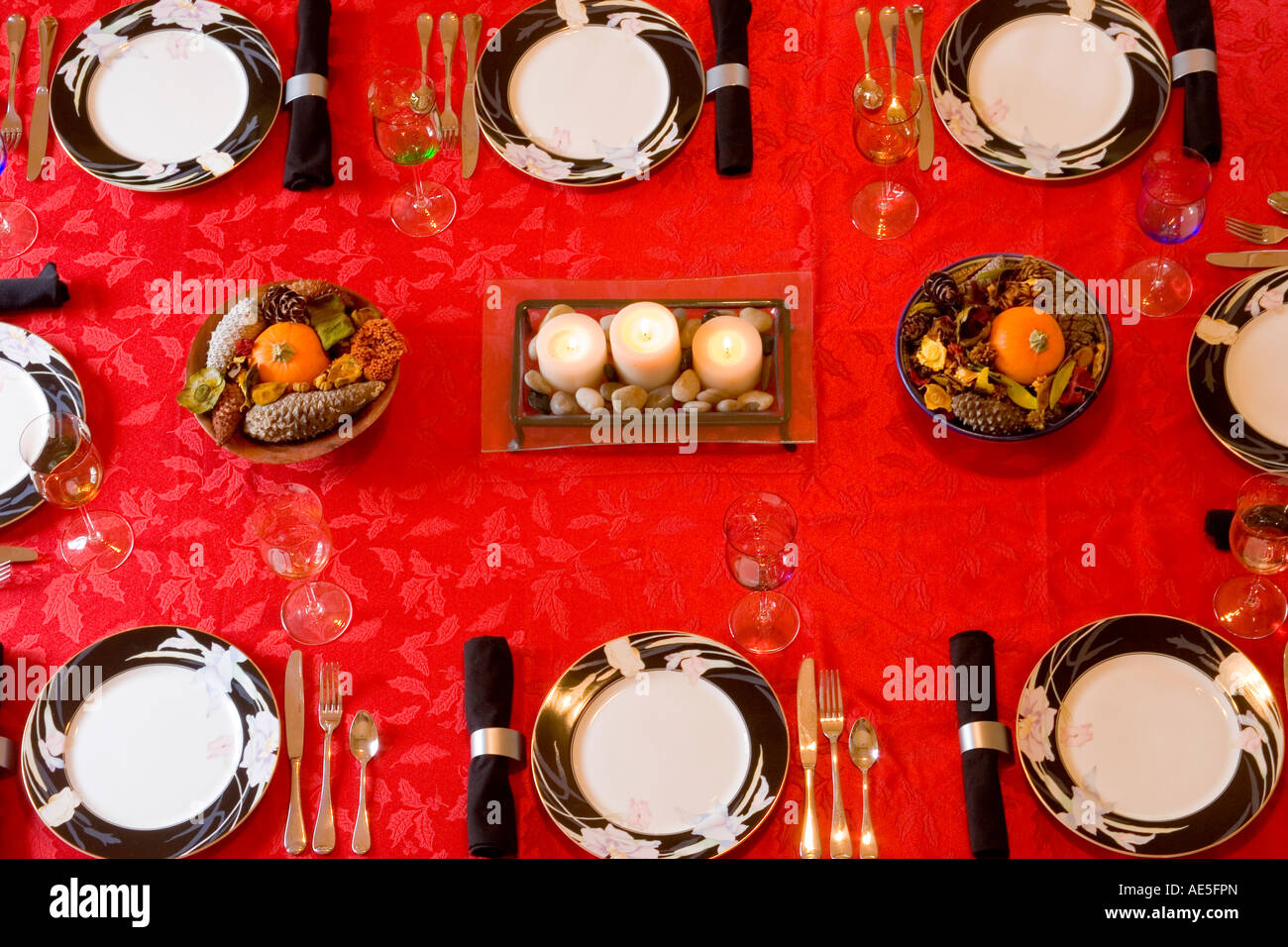 Tablecloth For Dining Room Table Aerial View Of A Dining Room Table Place Settings With Red Stock
