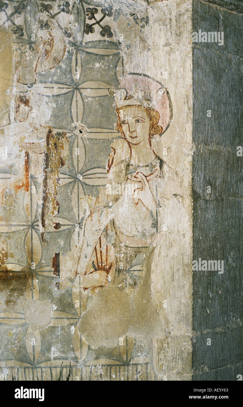 Medieval wall painting in st michael and all angels church medieval wall painting of king edmund in the church of st mary lakenheath suffolk stock amipublicfo Image collections
